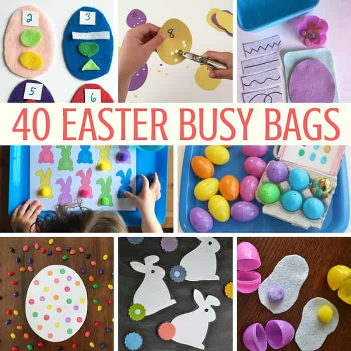 Best Toys 4 Toddlers - 40 Easter Busy Bags for Kids - Learning is fun with bunnies, Easter eggs and sweets.