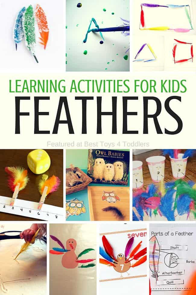 Best Toys 4 Toddlers - Learning activities with feathers for kids - counting, writing, science and more