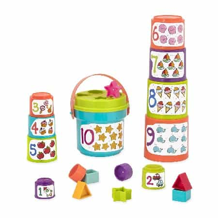 Best STEM toys for toddlers 12 - 24 months - Stacking Cups with Numbers & Shapes for Toddlers