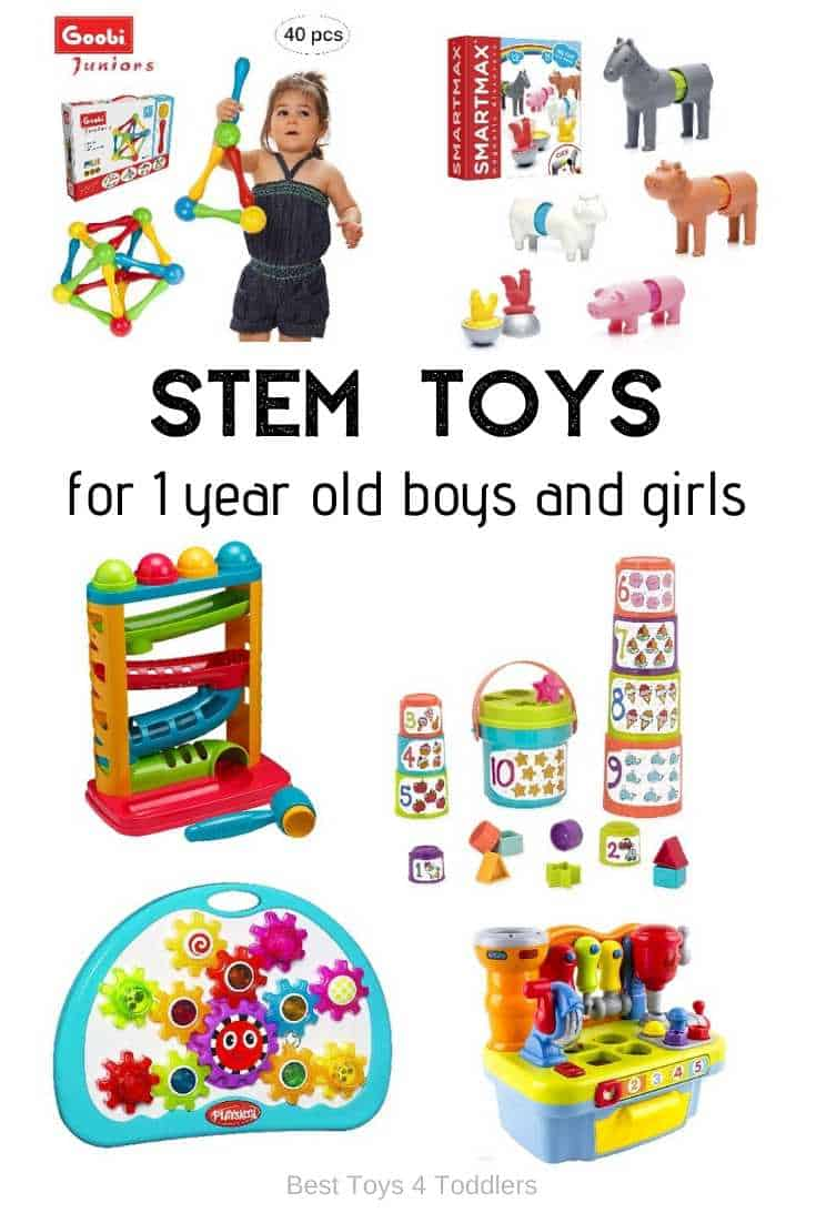 Top 10 STEM toys for 1 year old toddlers - age appropriate toys for toddlers 12 - 24 months to introduce science, technology, engeneering and math into their daily routine through play
