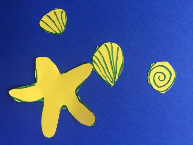 Ocean seashells - template for summer craft for kids
