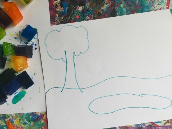 watercolor summer preschool activity