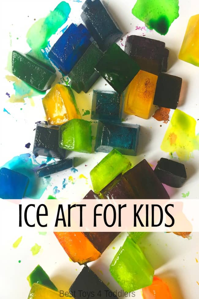 melting ice art science activity for toddlers