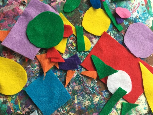 Felt shapes for shape recognition activity for toddlers