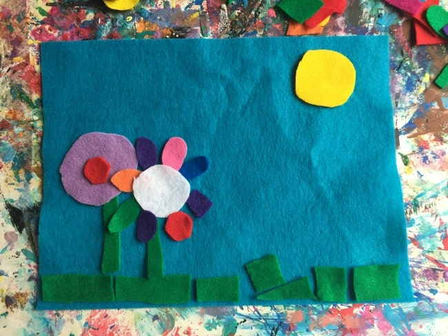 Summer scene art with felt