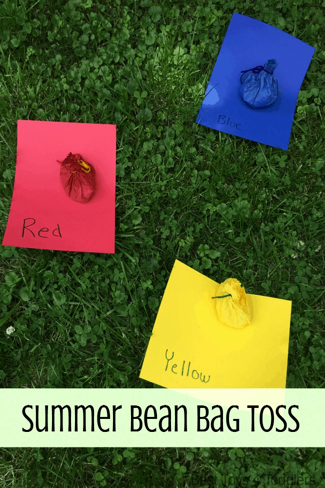 Best Toys 4 Toddlers - Kids get to learn colors and get moving with this fun bean bag toss game! Perfect gross motor activitiy for outdoors over summer or indoors in winter months!