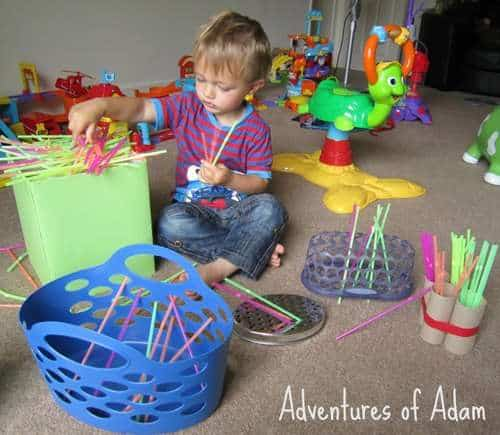 33 Out of the Box Activities with Drinking Straws - color sorting and independent play