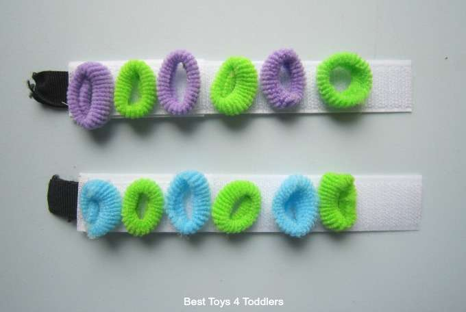 Hair bobbles and velcro fine motor play and patterning activity