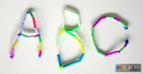 33 Out of the Box Activities with Drinking Straws - making letters and name recognition activity