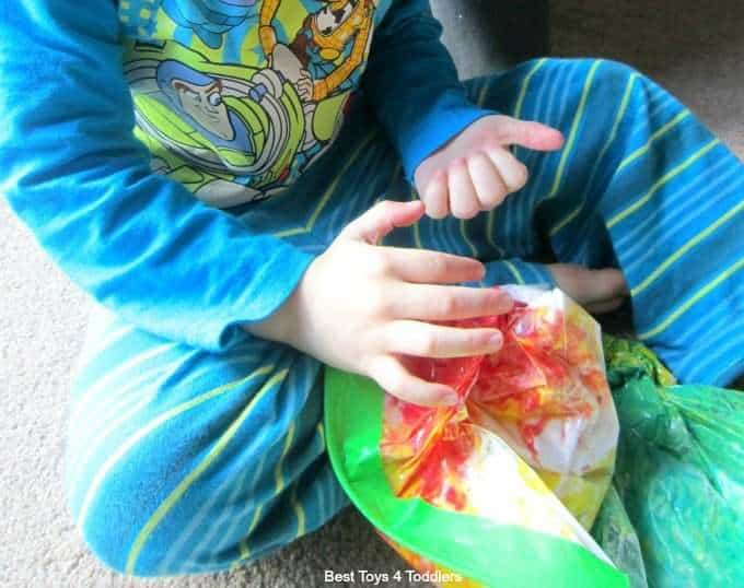 Mixing primary colors to magically create new colors in sensory bag