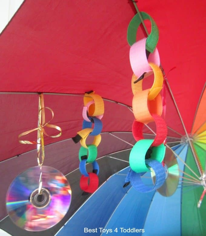 attaching visual stimuli under the rainbow umbrella for your baby or toddler