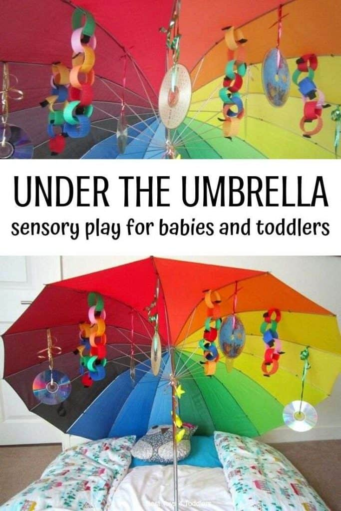 Under the Rainbow Umbrella sensory play activity for babies and toddlers to stimulate visual sense. #visualsensoryprocessing #sensoryplay #undertherainbow #rainbowtheme #activityforbaby #activityfortoddlers #naptime #besttoys4tots