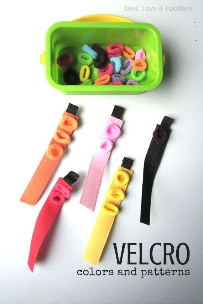 Velcro Fine Motor Color Sort and Patterning Activity - Best Toys 4 Toddlers #colorsorting #colortheme #patterning #STEM #activitiesfortoddlers #totschool
