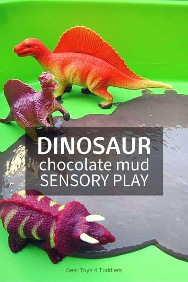 Edible sensory play with dinosaur chocolate mud sensory bin. Perfect for babies and toddlers who tend to put everything in their mouth. #dinosaurplay #sensorybin #sensoryplay #ediblesensoryplay #activitiesfortoddlers