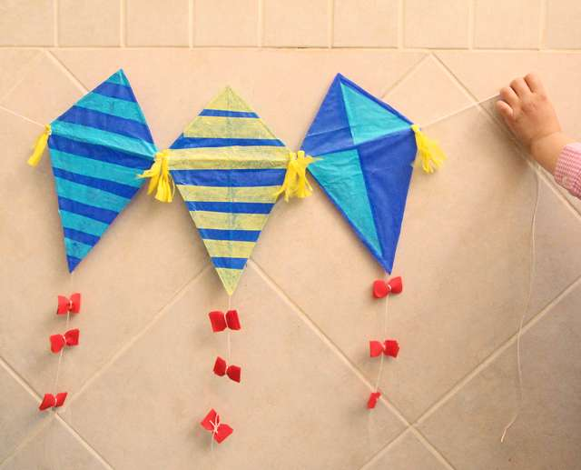 33 Out of the Box Activities with Drinking Straws - paper kite to make with kids