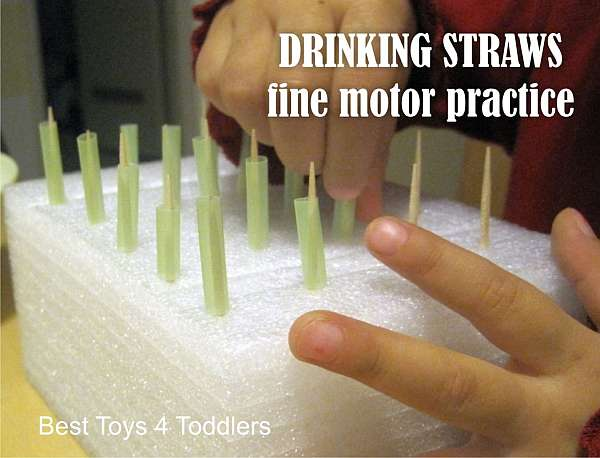 33 Out of the Box Activities with Drinking Straws - simple fine motor game for toddlers