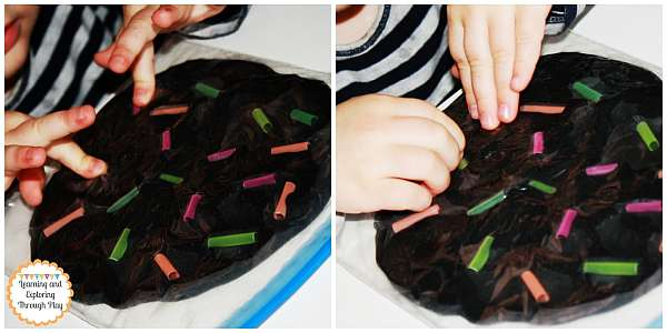 33 Out of the Box Activities with Drinking Straws - sensory bag for babies, toddlers and older kids