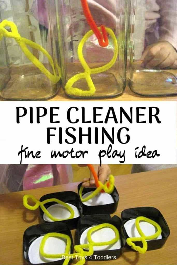Best Toys 4 Toddlers - Pipe Cleaner Fishing Game for Toddlers provides ways to work on fine motor skills and hand-eye coordination