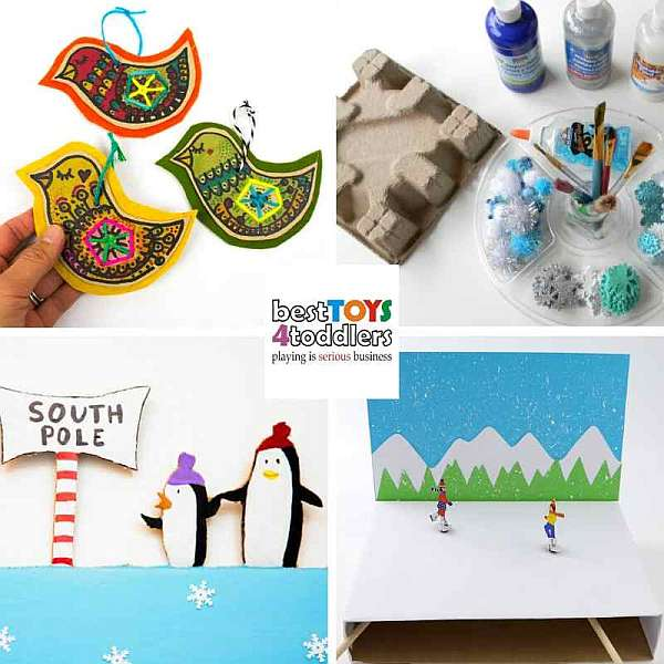 Recycle cardboard, shoe and cereal boxes for winter crafts with kids