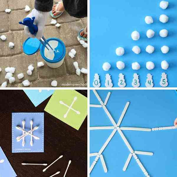 snowflake and snowball busy bags for toddlers and preschoolers - practice counting, fine motor, following directions and more