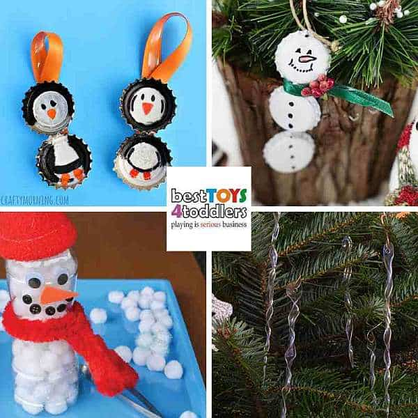 upcycle bottle caps and plastic bottles for winter crafts - penguin, snowman, icicles