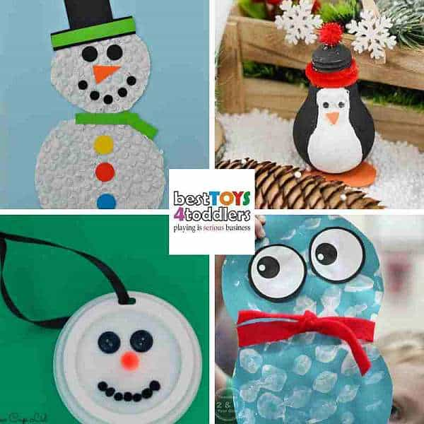 using bubble wrap and light bulbs for winter crafts with kids
