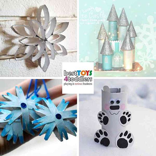 fun winter crafts for kids from paper rolls - snowflakes, winter wonderland, polar bear