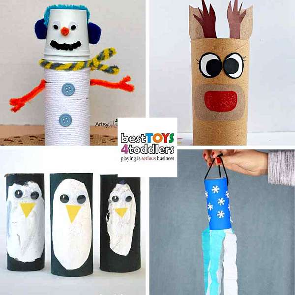 repurposing toilet paper rolls for winter crafts - snowman, reindeer, penguins and winter windsock
