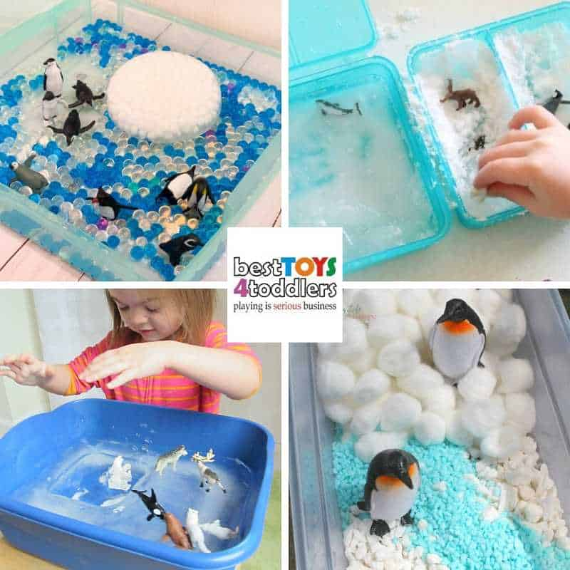 explore antarctica through sensory play with toddlers and preschoolers - Penguin Sensory Bin with Frozen Water Beads, Mini Polar Sensory Bin, Arctic Ice Sensory Bin, Easy Penguin Sensory Bin