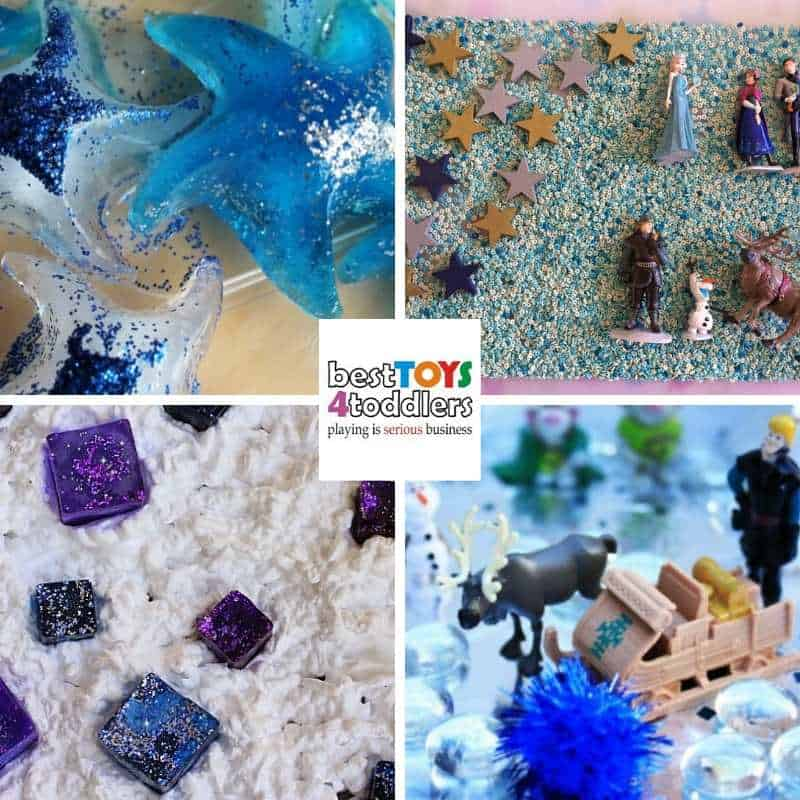 awesome frozen inspired sensory bins for little fans to enjoy during winter - Frozen Sensory Tub, Frozen Sensory Tray, Frozen Shaving Cream Sensory Play, Frozen Inspired Ice Castle Small World