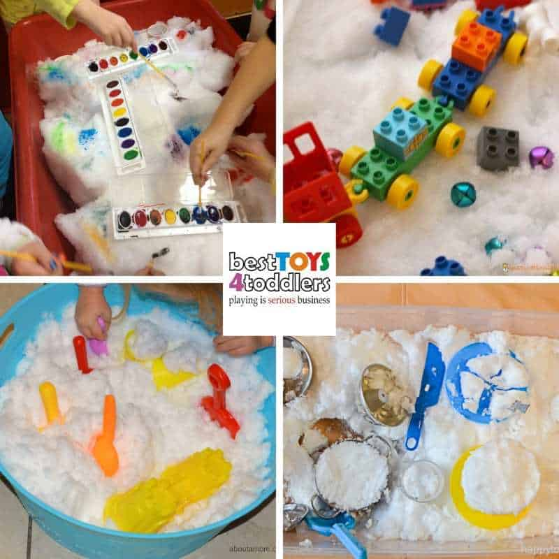 Explore winter inside with real snow - sensory play ideas for indoors to enjoy with your kids - Painting on Snow, Snowy Train Sensory Bin, Indoor Snow Play, Snow Kitchen