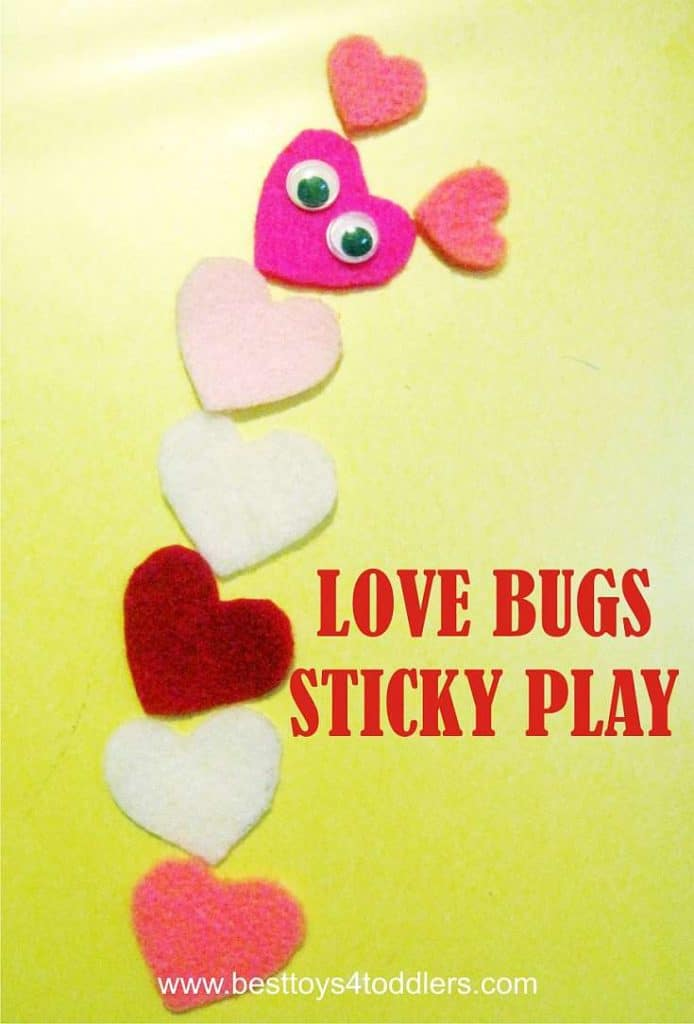 Best Toys 4 Toddlers - Love Bugs Sticky Play - sensory play on contact paper for Valentine's Day #sensoryplay #stickyplay #contactpaper #lovebugs #Valentinesday #besttoys4tots