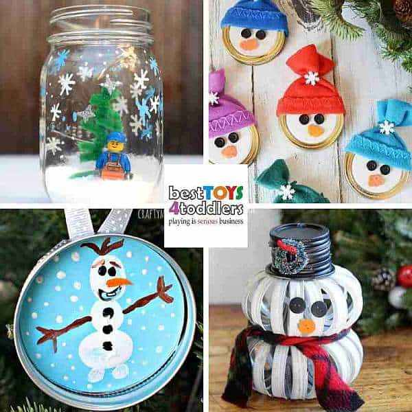 repurpose old mason jars and lids for winter crafts with kids - snowman, olaf