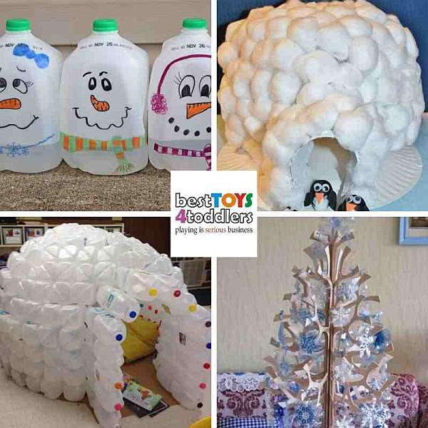 green winter crafts from milk jugs - snowman, igloo, snowflakes