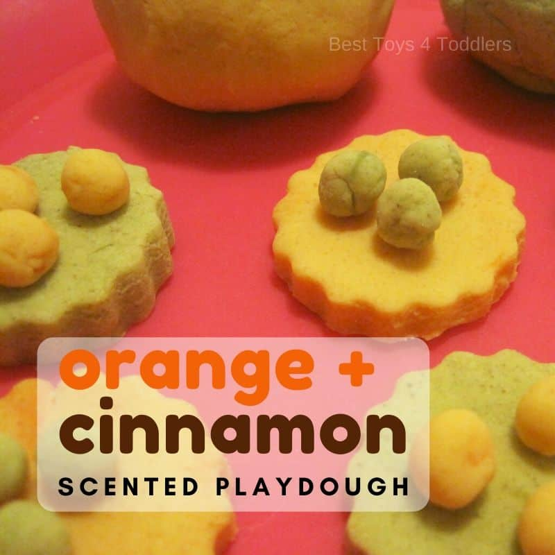 homemade orange and cinnamon scented playdough recipe for toddlers and preschoolers