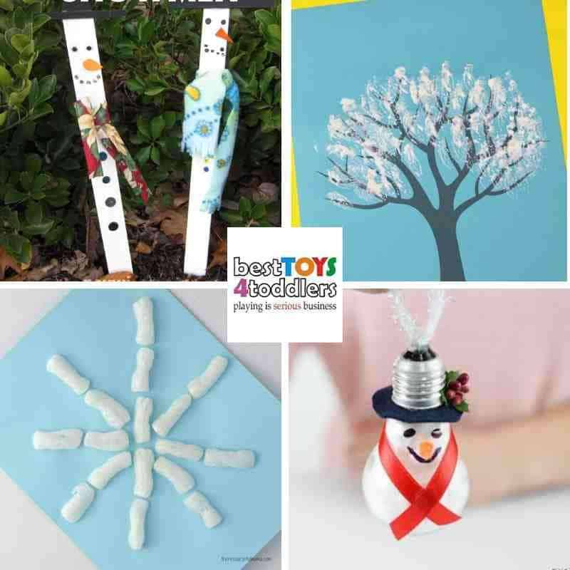 green winter crafts for kids from paint sticks, teethbrush, packing peanuts and light bulbs