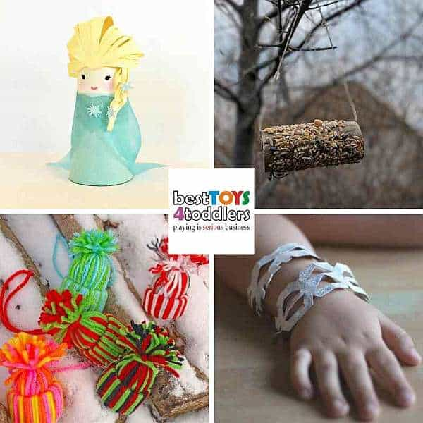 winter craft ideas for kids from recycle bin - elsa, bird feeders, yarn hats, snowflake bracelet