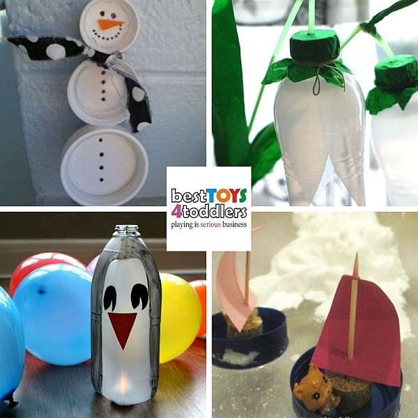 fun winter crafts for kids from plastic bottles and caps - snowman, snowdrops, penguins