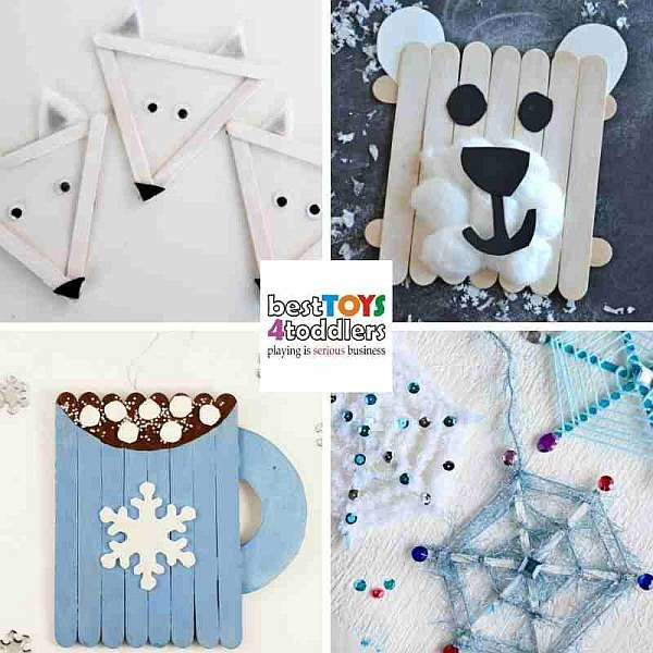 green winter crafts for kids from popsicle sticks - fox or wolf, polar bear, hot chocolate mug, snowflakes