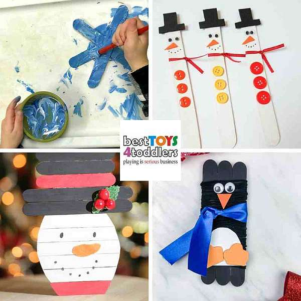 repurpose lolli sticks for winter crafts - snowflakes, snowman, penguin