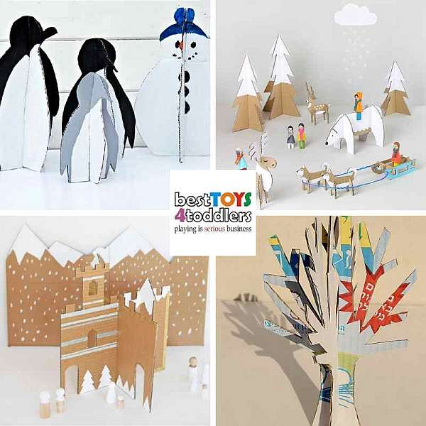 recycle cardboard boxes to snowman penguins and other winter crafts
