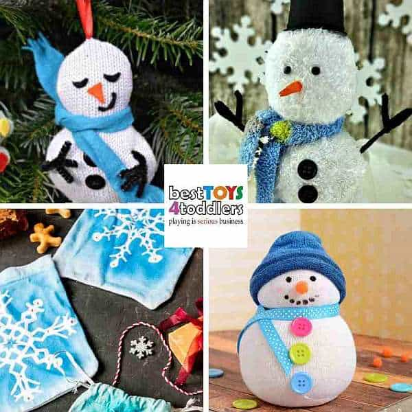 reused fabric winter crafts for kids - snowmen, snowflakes