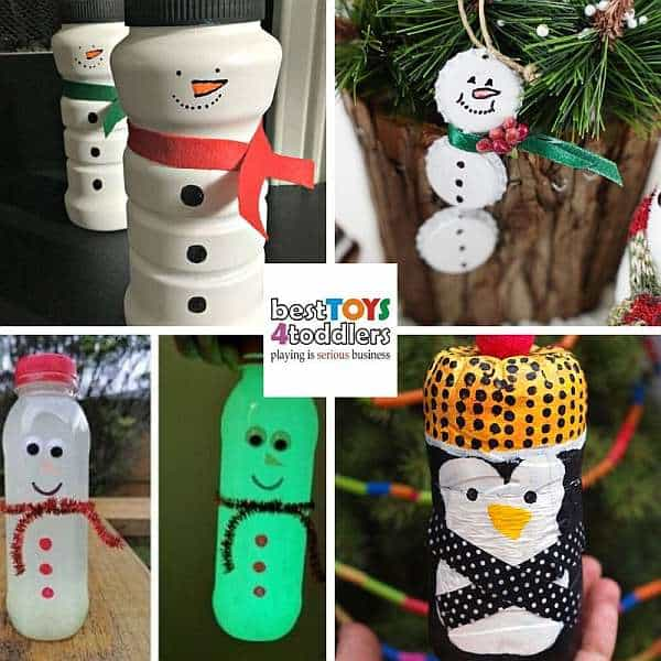 recycled plastic bottles and bottle caps for winter crafts - snowman, penguin