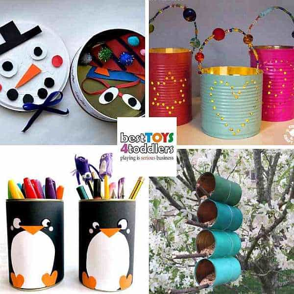 green winter crafts for kids from tin cans - snowman, luminaries, penguins, bird feeders