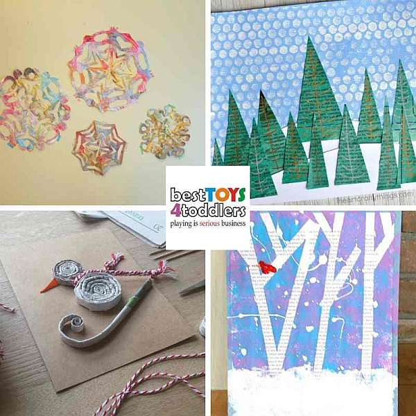 winter craft and art projects for kids from old newspapers - snowflakes, snowman, winter landscape