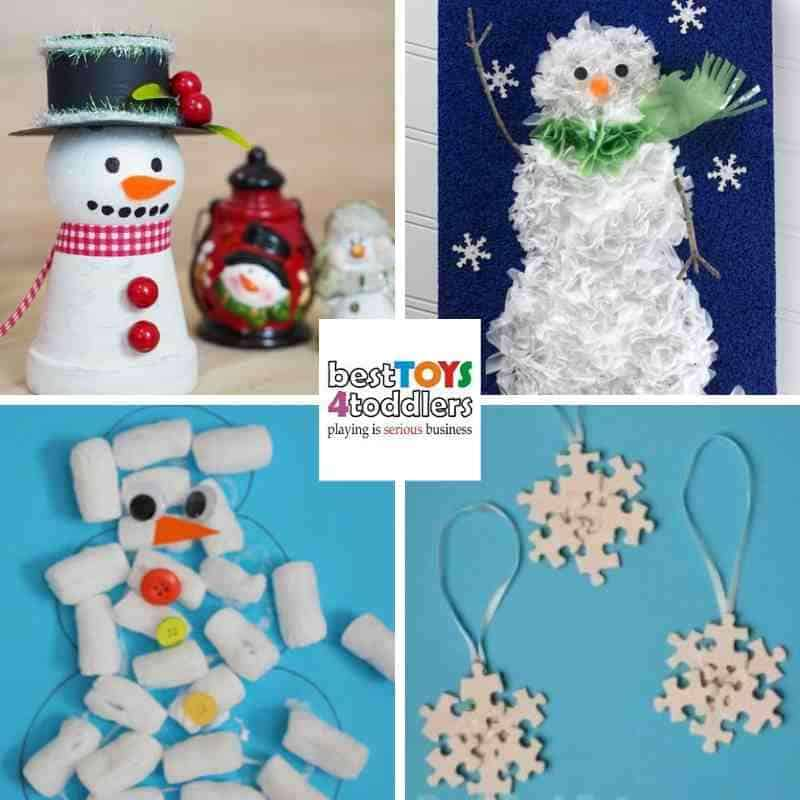green winter crafts for kids from clay pots, plasic bags, packing peanuts and mismatched puzzle pieces