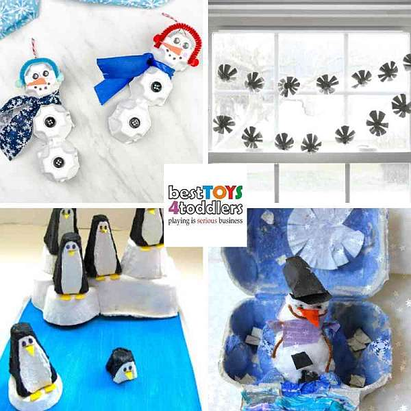 repurpose egg cartons for winter craft projects with kids - snowman, snowflakes, penguin, winter wonderland