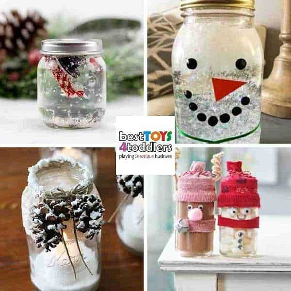 repurpose baby jars for winter crafts - snowman, luminaries and homemade gifts