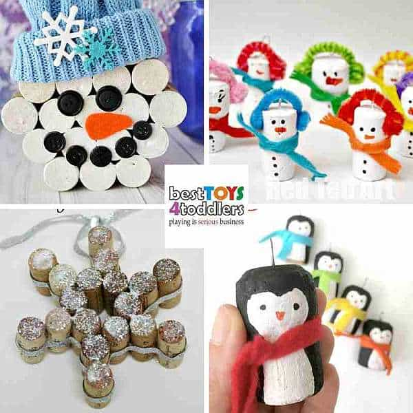 green winter crafts from old wine corks - snowman, snowflakes, penguin