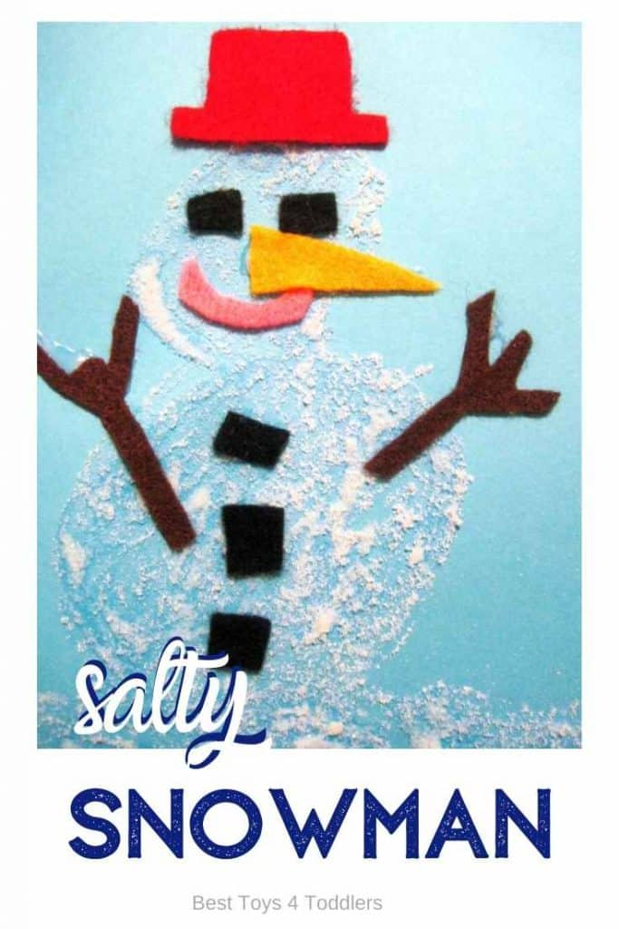 Salty Snowman activity for toddlers and preschoolers to try this winter! So fun and exciting to build a snowman in a different way! #wintercrafts #winteractivities #snowmancraft #snowmanactivity #playideas #toddleractivities #besttoys4tots